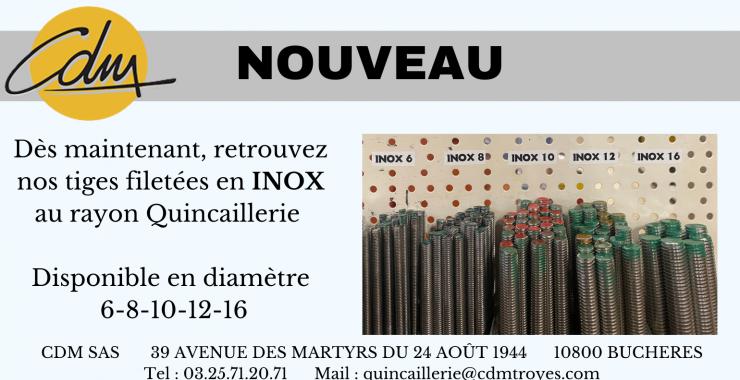 cdm troyes aube nouveau tige filetée inox quincaillerie outillage matériaux construction